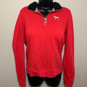 VS PINK True Red 3/4 Zip Sweatshirt